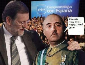 Franco manifestándole a Rajoy que la emigración está ahora como en su época