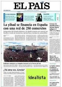 Para El País, titular de portada para el yihad islámico, luego foto de Sol
