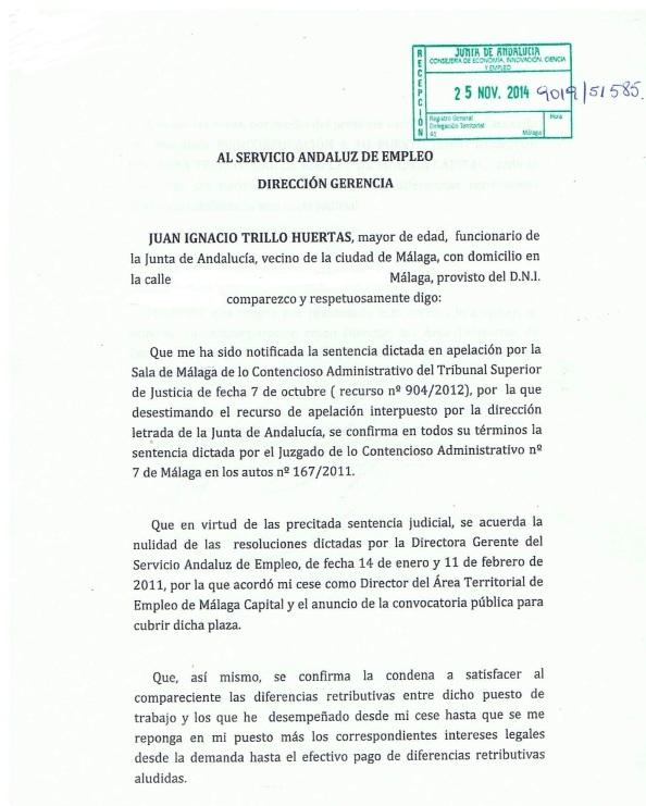 Escrito al SAE para ejecución de la sentencia judicial