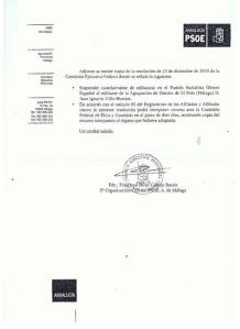 Segunda hoja del juicio sumarísimo para mi expulsión del PSOE, firmado por el ínclito Francisco Conejo
