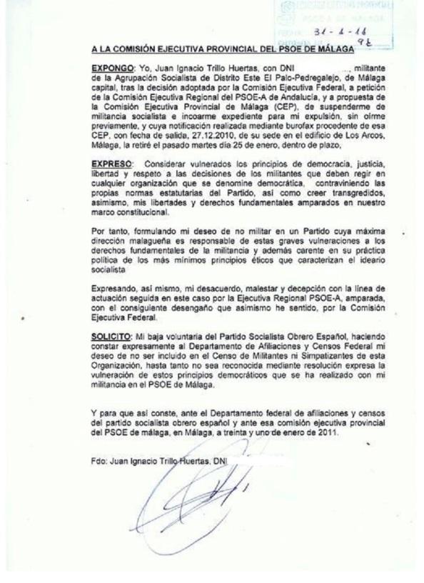 Escrito al PSOE comunicando mi baja
