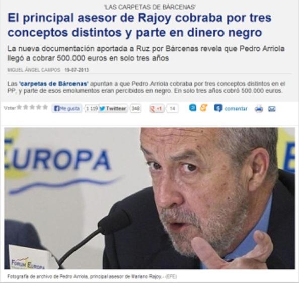 Pedro Arriola en los papeles y contabilidad de Bárcenas
