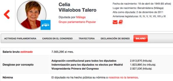 Ficha salarial de Celia Villalobos donde se hace constar que no ha sido declarada