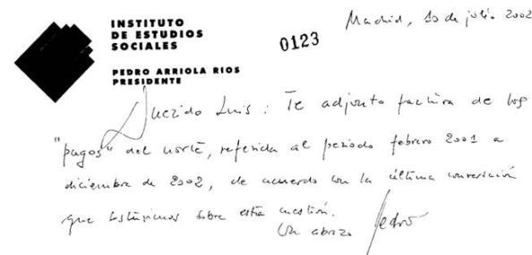 Supuesto texto de puño y letra de Pedro Arriola dirigido a Luis Bárcenas y que obra en poder del juez Ruz
