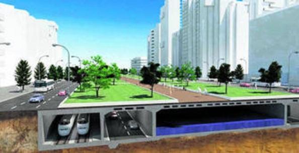 """Plan de ciencia ficción """"Guadalmedina"""", que presentara Villalobos. El Metro, carretera, aparcamientos se ubicarían por debajo del verde bulevard que se emplearía para uso y disfrute de la ciudadanía"""