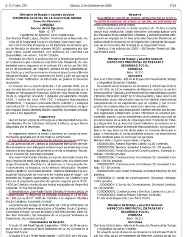 BOP de la provincia de Córdoba, El PP denunció en mayo de 2010 que el entonces máximo responsable del PSOE en Córdoba, Juan Pablo Durán, cobró entre 2003 y finales de 2008 una nómina del Ayuntamiento como asesor del grupo municipal socialista pese a trabajar, primero, como secretario de Organización de su partido y, a partir de mediados de julio de 2008, como su secretario provincial, en la sede de esta formación en la avenida del Aeropuerto