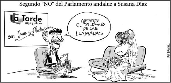 Pachi e Idígoras, sacándole punta a la dificultad de encontrarle novio político a Susana Díaz, a pesar del esfuerzo de Juan y Medio en su programa de Canal Sur, para superar su investidura.