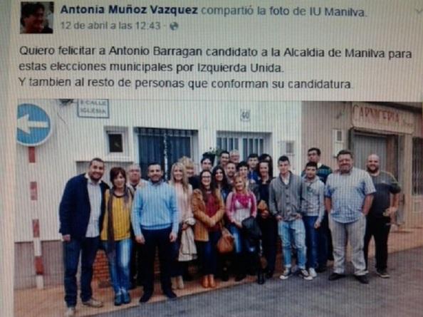 Portal de Facebook de Antonia Muñoz, apoyando a los componentes de IU que se presentan a las próximas elecciones
