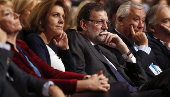 Aguirre, Dolores de Cospedal (2i); Mariano Rajoy (c); Javier Arenas (2d) y González Pons (d) EFE Archivo.