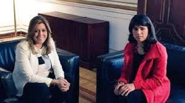 Susana Díaz con teresa rodríquez de Podemos, a la que no le contesta por escrito a sus peticiones sobre desahucios y `adelgazamiento´ de la administración autónoma