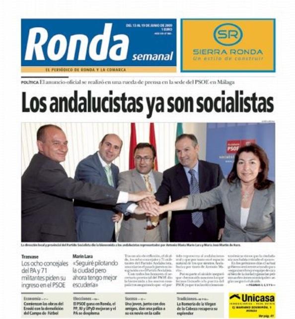 La consumación del transfuguismo del PA al PSOE. Junio 2009.