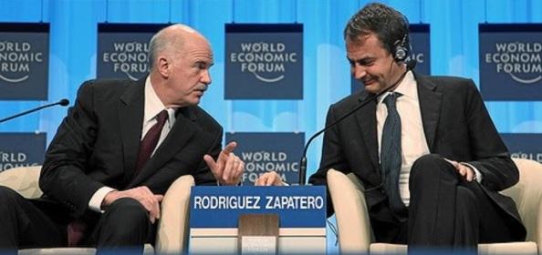 Dos ex-presidentes; de España, Zapatero, de Grecia, Papandreu, cuyos cuerpos electorales los castigaron fuertemente por entregarse a la Troika y a sus políticas austericidas, traicionando a sus votantes. Encima, en el caso de Papandreu que le dio por convocar un referéndum tardíamente cuando ya no contaba con apoyo popular, lo único que logró fue que