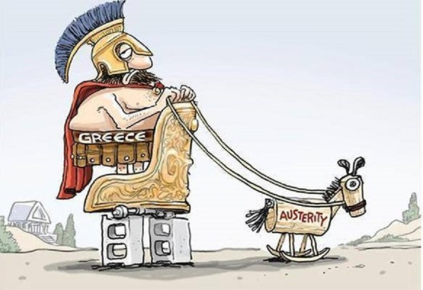 Con las políticas austericidas dictadas por la Troika, ni Grecia puede ir hacia adelante creciendo económicamente ni por tanto puede devolver ninguna  parte de su deuda