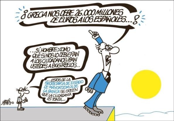 La burda campaña que lleva a cabo el Gobierno Rajoy sobre Grecia, en tanto condona la devolución por la banca del