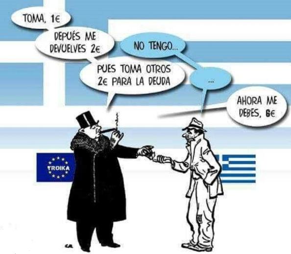 El timo de la deuda pública griega: en el estudio que se está haciendo por el Parlamento griego a través de una comisión creada, de la Verdad sobre la Deuda helena, se asevera en su primer avance que solo un 10% de las cantidades que han ido de rescate a Grecia han sido realmente para socorrerla, el resto no ha llegado ni tan siquiera a entrar por sus fronteras, sino que directamente ha pasado del FMI o de la UE o BCE a acreedores de esa deuda externa a la que se le ha estado cobrando intereses usureros, fundamentalmente con destino a bancos alemanes y franceses, a la vez que esa deuda es producto de hacer pasar por los anteriores gobiernos del PASOK y de Nueva Democracia con el acuerdo de los acreedores deudas privadas a públicas. En la misma línea, la deuda de la Alemania nazi con Grecia, que le fue condonada en 1953, supera lo que Merkel y la UE reclaman hoy al gobierno de Tsipras. Atenas.
