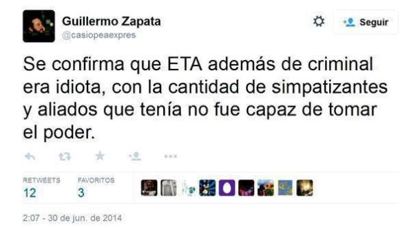 Sobre la desaparecida banda terrorista, ETA