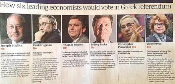 así se posicionaron los más afamados economistas mundiales ante el referéndum griego