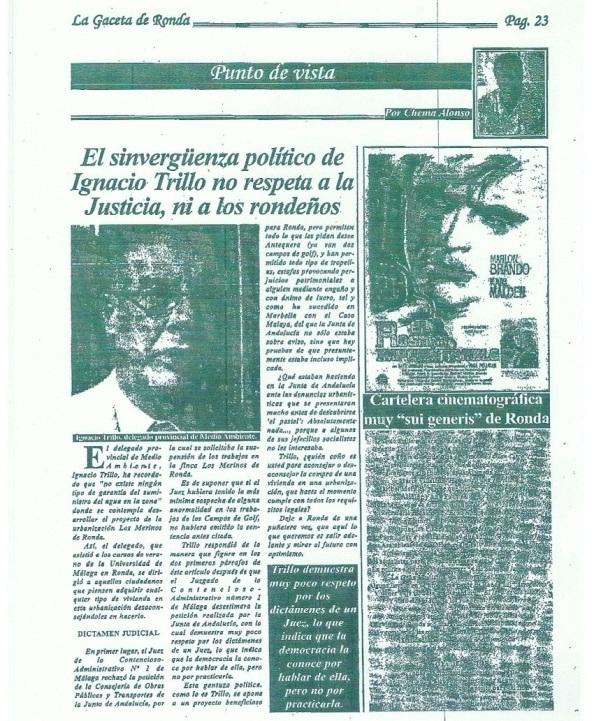 Así me linchaba el periódico-panfleto que sacaba el alcalde Marín Lara y que tras su detención se supo que pagaba la titular de