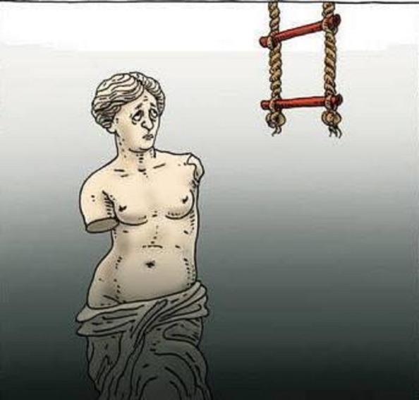 Una Grecia destrozada a la que se le pone como eufemismo de rescate una imposible escalera para tomarlla de cara a su salvación