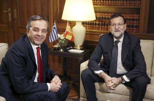 Visita de Rajoy a Atenas el pasado mes de enero en apoyo a Samaras en las elecciones generales que perdió el partido de la derecha griega, Nueva Democracia.