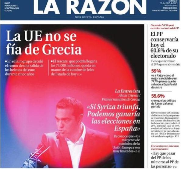 No se disimula. Hay que estrangular el efecto OXI. Tras Syriza no puede irrumpir otro más, en este caso Podemos de España