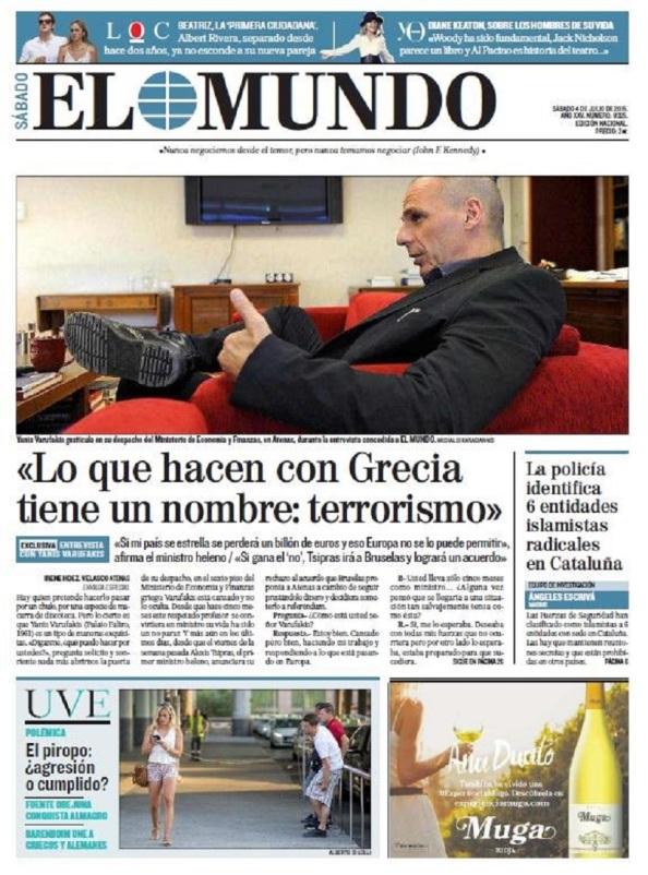 El entonces ministro de Economía griego, en entrevista en el diario El Mundo, el día antes de las elecciones y sin pelos en la lengua.