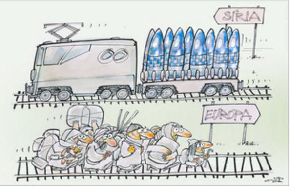La necesidad de crear conflictos bélicos locales para dar salida a los armas almacenadas que van quedando obsoletas y se produzca la renovación de las mismas para mantener ese pingüe negocio, otra causa de ese flujo de personas paradójicamente con destino a las zonas más cercanas de donde las producen