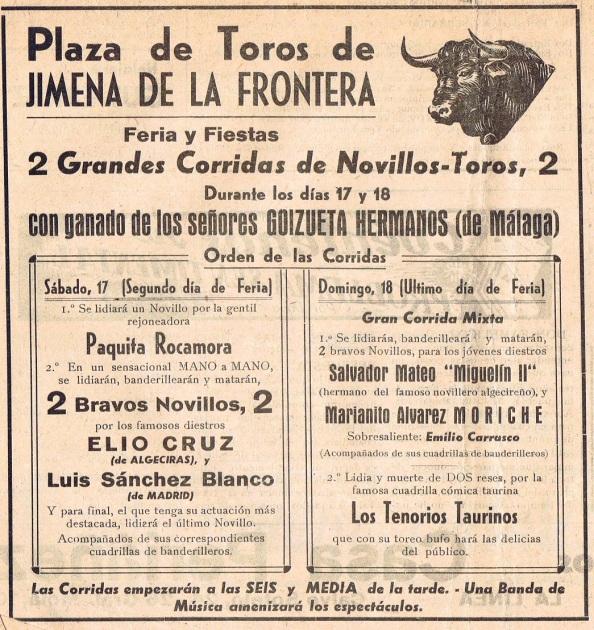 Cartel anunciador de laa corridas de toros de la feria de agosto de 1957 que se celebró en Jimena de la Frontera (Cádiz)