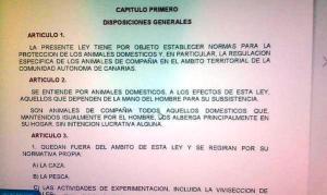 Ley 8/1991 de 30 de abril de Protección de los animales de la Comunidad Autónoma de Canarias. Primeros artículos
