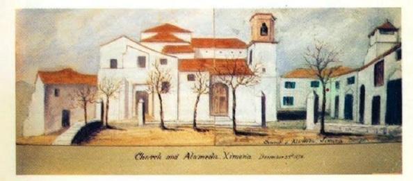 Litografía de 1878 que recoge la Iglesia de Santa María la Coronada, delante de la cual se celebraron festejos taurinos