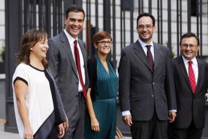 Heredia con Pedro Sánchez y portavoces en el Congreso