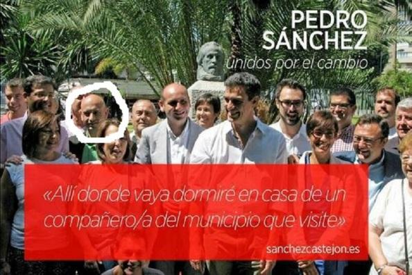 En esta foto, con un círculo blanco, el nuevo delegado de Agricultura y Pesca de la Junta en Málaga, acompañando a Heredia, Conejo, y a Pedro Sánchez en su campaña del 2014 de primarias del PSOE para la secretaría federal donde vende un slogan