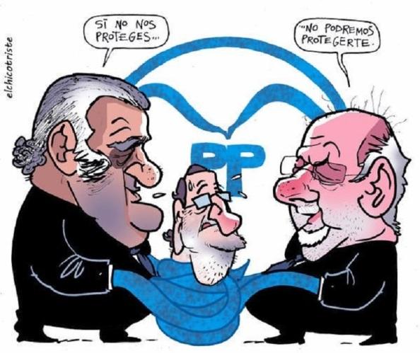 Un partido estructuralmente corrupto, con un presidente Rajoy sobreseado con despacho en Génoca pagado en B, rehén de las múltiples tramas, Gürtel, Púnica, Bárcenas, Camps, Matas, Fabra, Granados, Correa, El Bigote...en cualquier momento puede volar