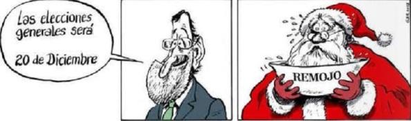 Rajoy, tras su debacle catalana apostando lo más lejos posible del 27-S y lo más cerca posible de Navidad para las elecciones generales, y que la paga extra y el consumo en dichas festividades le saquen de sus niveles de impopularidad.
