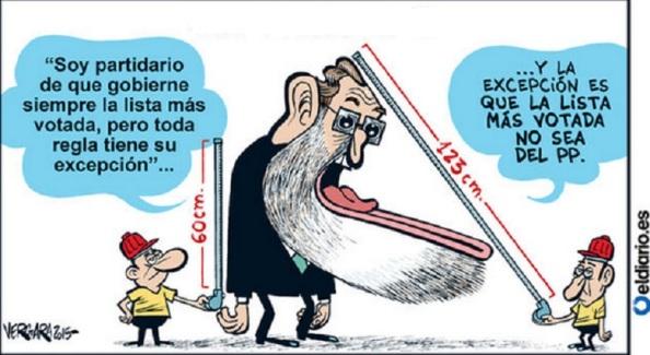 Otra viñeta sobre Rajoy y su reforma electoral, donde se le atribuye más cara que espaldas.