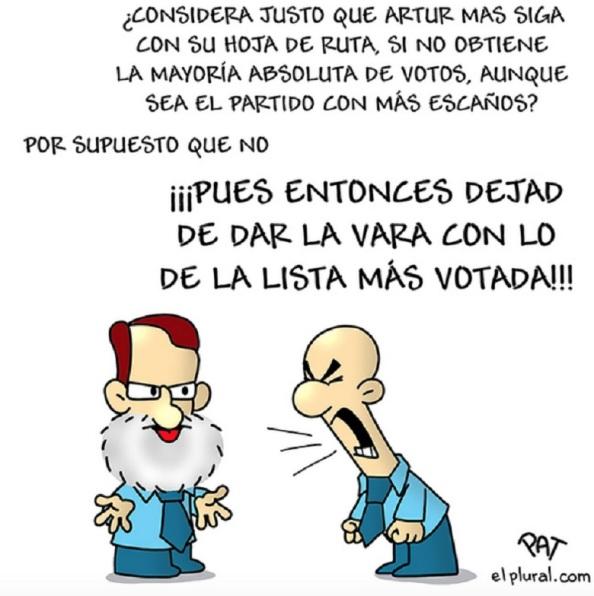 Otro de los esperpentos de Rajoy en la campaña electoral catalana, olvidando su cacareada reforma electoral para que gobierne la lista más votada.