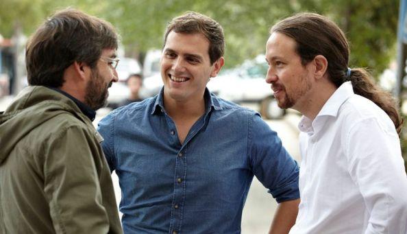 Jordi Évole con Pablo Iglesias y Albert Rivera previo al primer debate preelectoral