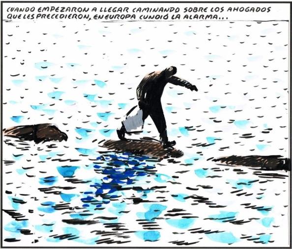 El drama de los refugidos huyendo de la misma barbarie y encontrarse la frontera marítima de los naufragios y los que sobreviven las terrestres de concertinas