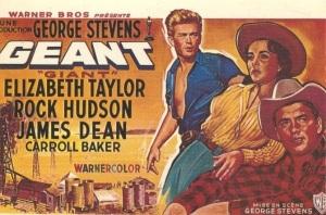 Cartel de la película El Gigante, con los pozos petrolíferos a su pie