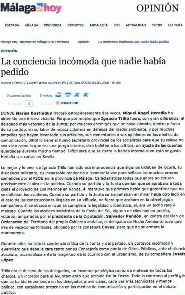 Cómo fue visto en la prensa de Málaga mi cese de delegado provincial de Medio Ambiente de la Junta de Andalucía. Diario Málaga Hoy. 03.09.2008