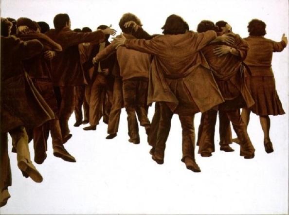 El abrazo de Genovés. En conmemoración de la amnistía a los presos políticos. 1977