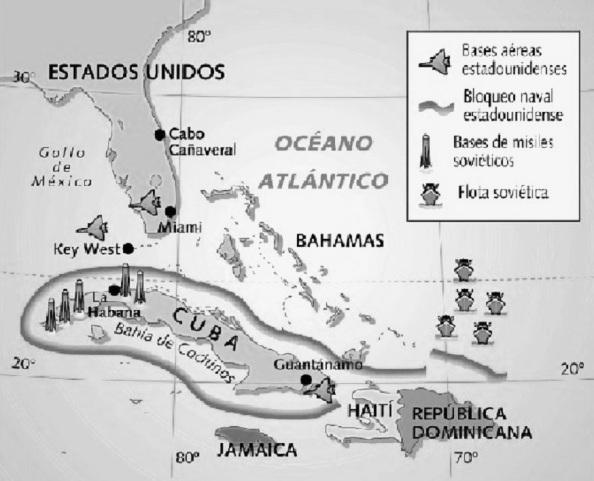 Mapa del escenario de la crisis de los misiles en Cuba y su emplazamiento