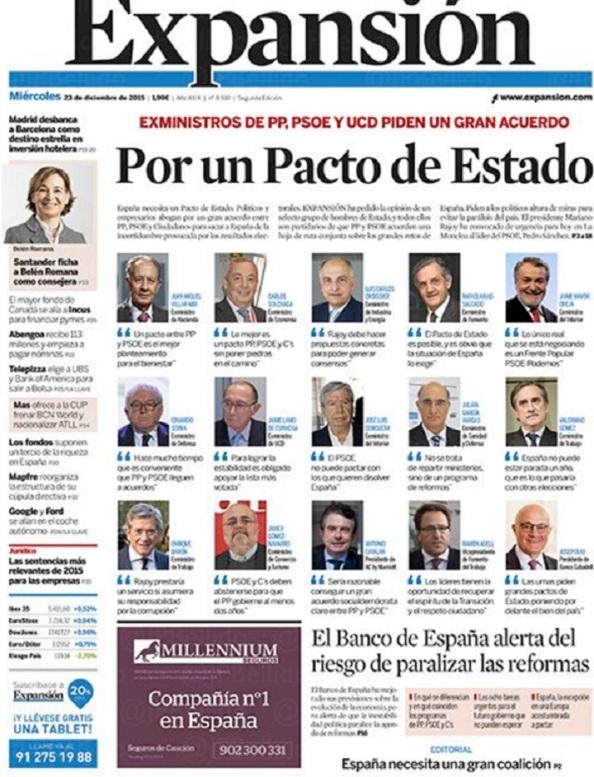 La Gran coalición merkeliana, planteado por exnministros del PP, PSOE y UCD