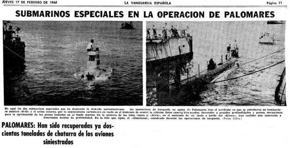 Submarinos de EEUU dotados de alta tecnología para localizar la bomba que se hundió en el mar y que no pudo competir con un pescador