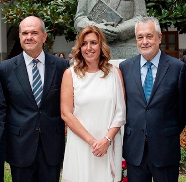 Manuel Chaves, José Antonio griñán y Susana Díaz, corresponsables del PSOE, periodo 2008-2015
