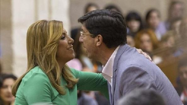 Susana Díaz y Juan Marín (Ciudadanos de Andalucía),que posibilitó el acceso a la Presidencia de la Junta y ahora a su mantenimiento aprobando los presupuestos 2016 a cambio del tiular bajadas de impuestos