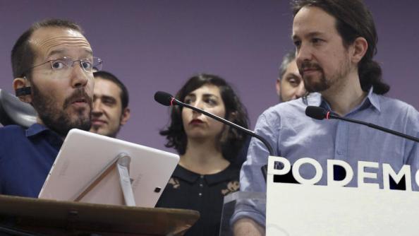Pablo Iglesias en la presentación de su propuesta de Echenique para sustituir a sergio Pascual