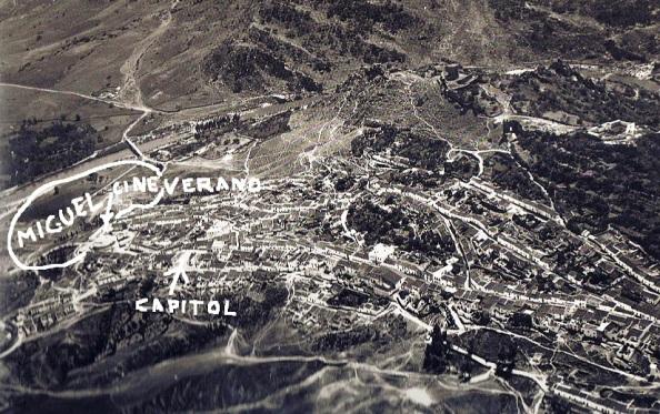 Situación de los cines de verano y cine Capitol de invierno, a mitad de esa distancia y en círculo irregular la zona de búsqueda del desaparecido Miguel