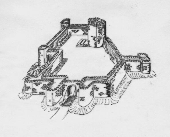 Dibuyo de lo que fue la fortaleza del Castillo de Jimena