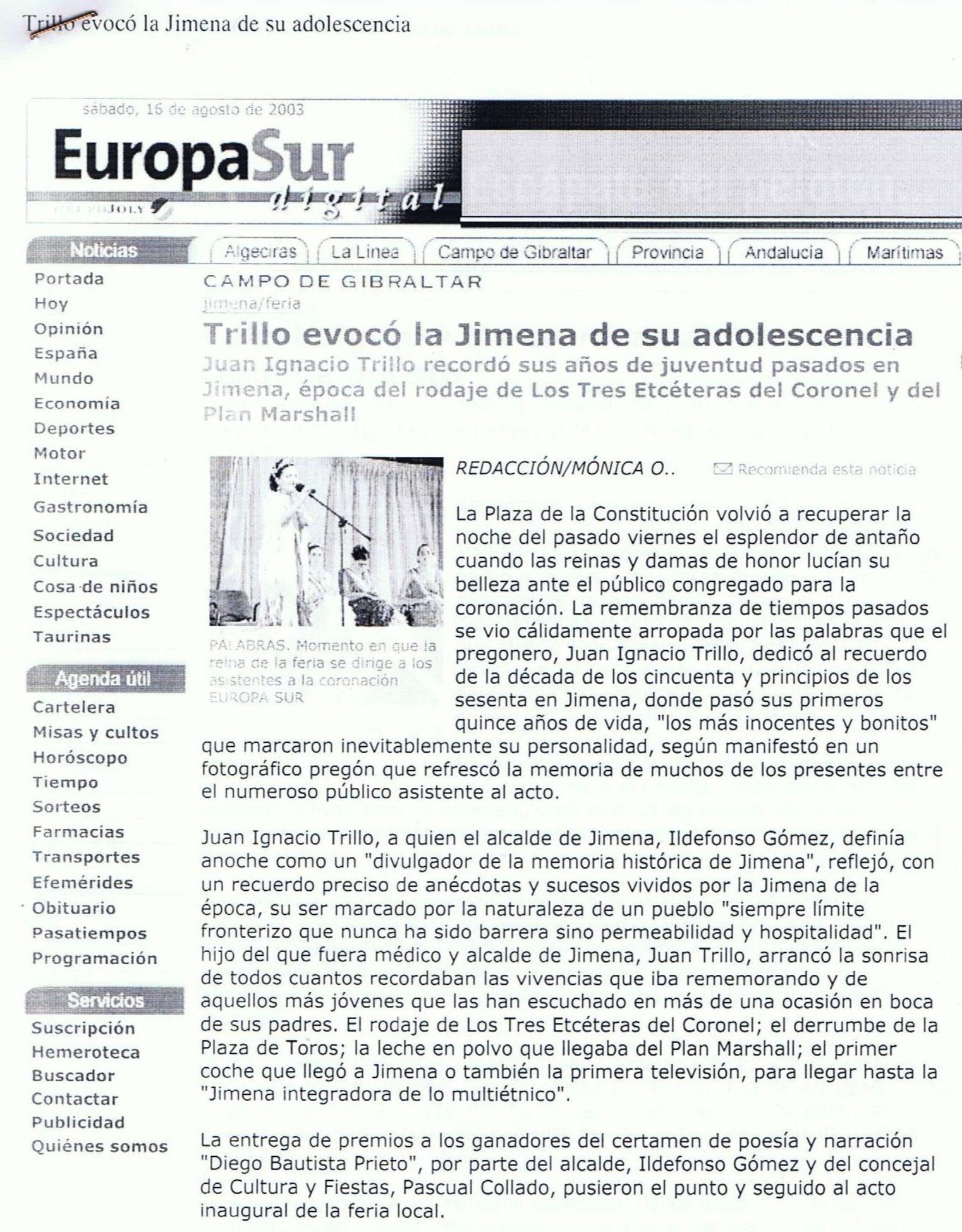 Eco informativo del pregón en el diario Europa Sur del Campo de Gibraltar. Edición del 16.08.2003.